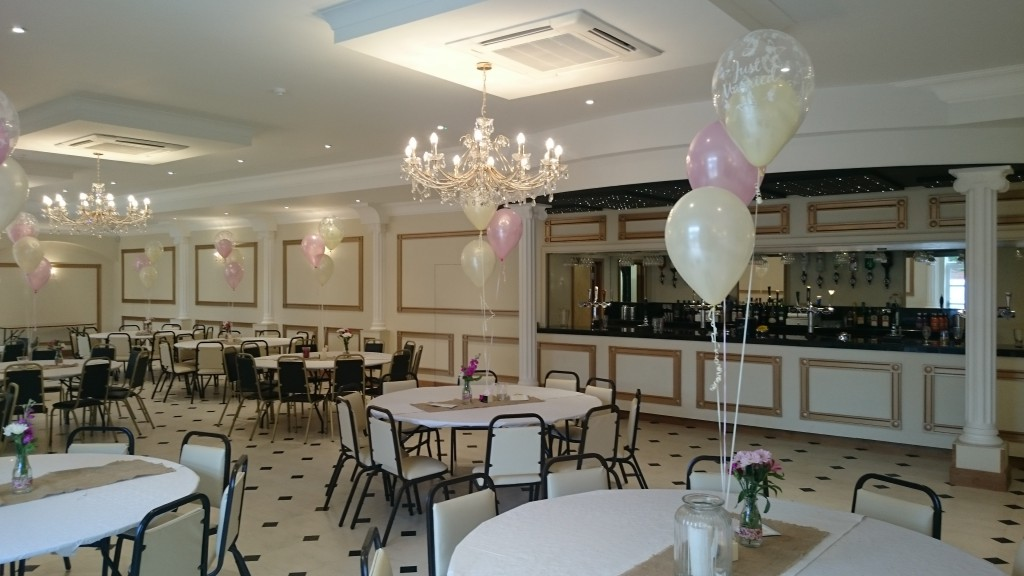 A wedding reception with balloons at the newly refurbished